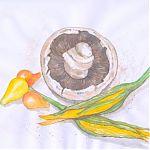Zucchini flowers and mushroom